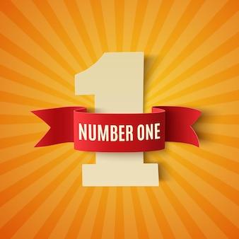 Número um com fita vermelha. 1 º lugar.