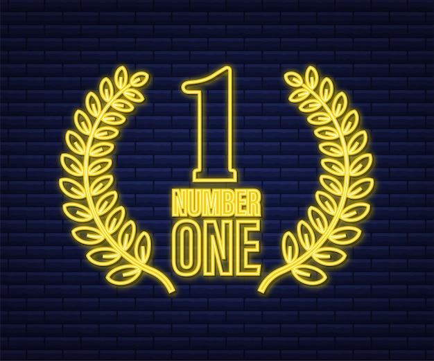 Número um em design de jogos. número do ícone de fita ouro de prêmio. conquista do concurso. ícone de néon vencedor