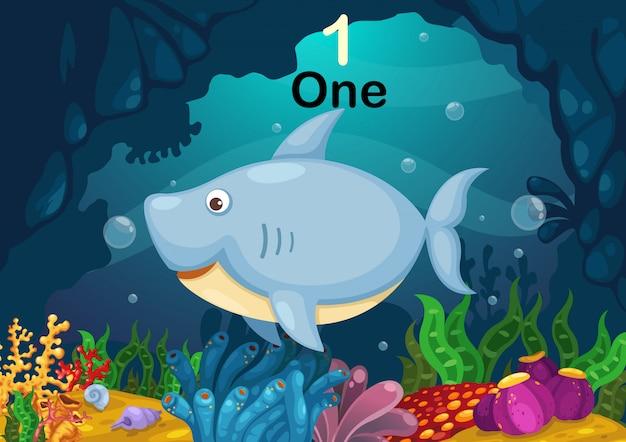 Número um tubarão sob o vetor do mar