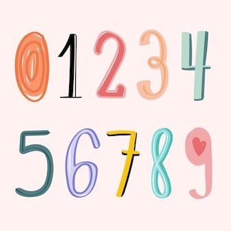 Números 0-9 mão desenhada doodle estilo tipografia definir vetor