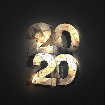 Números 2020 no estilo de estrutura de arame poligonal