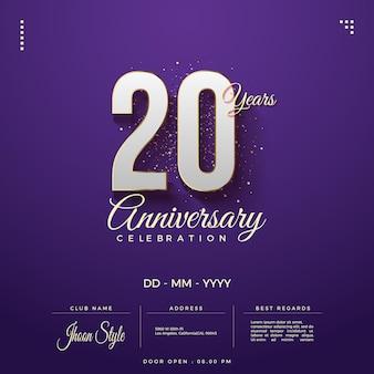 Números 3d de convite do 20º aniversário