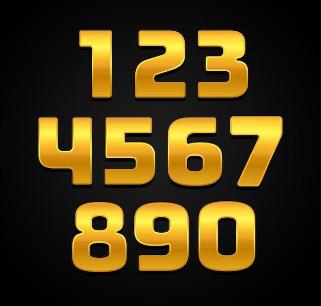 Números 3d de ouro de luxo premium