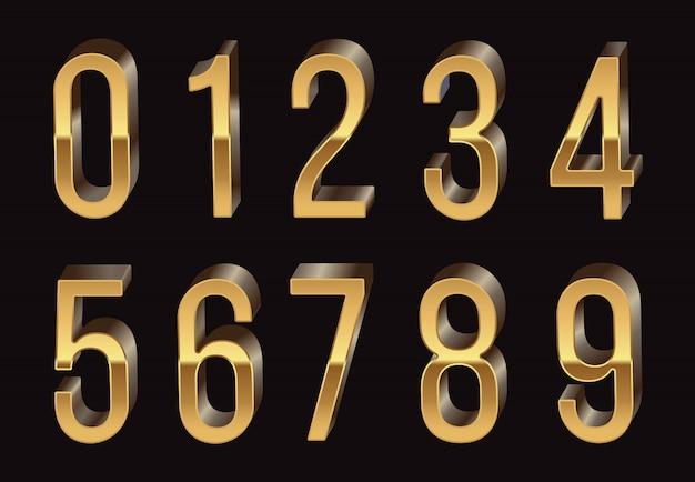 Números 3d dourados