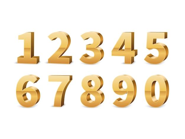 Números 3d dourados Vetor Premium