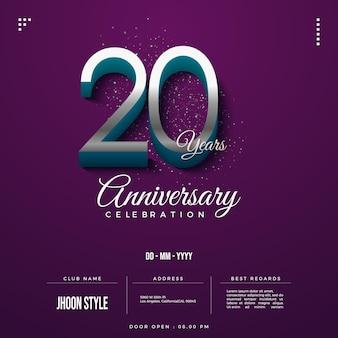 Números 3d em relevo para convite do 20º aniversário