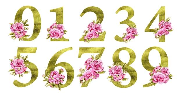 Números bonitos em aquarela festivos com flores cor de rosa