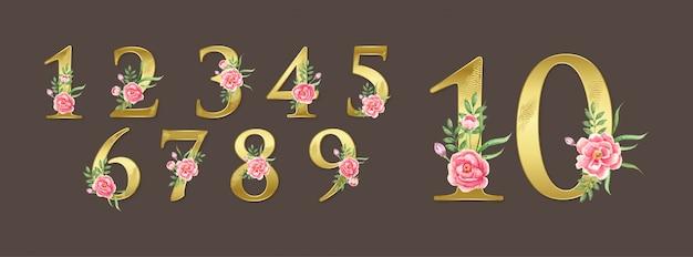 Números botânicos com ilustração de flores em aquarela