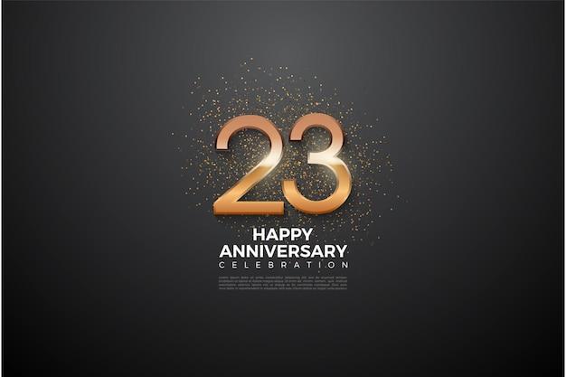 Números brilhantes e glitter nas costas para a celebração do 23º aniversário