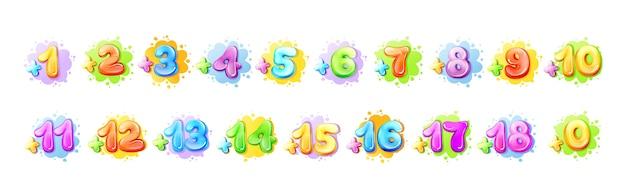 Números coloridos dos desenhos animados para crianças
