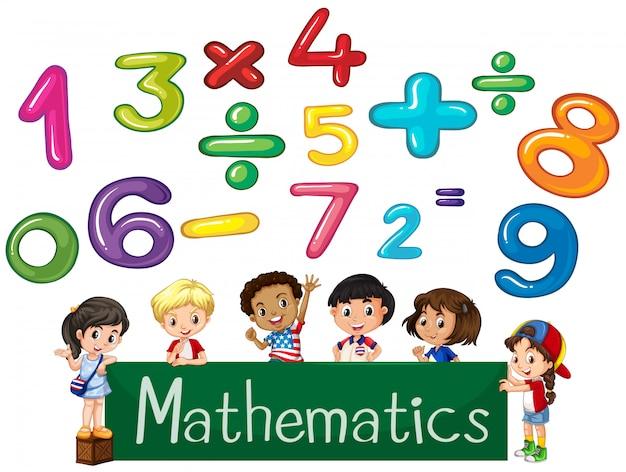 Números coloridos e crianças matemática