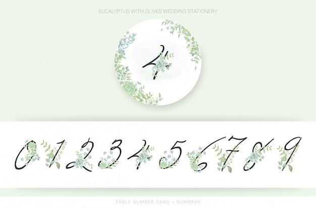 Números, com, aquarela, folhas