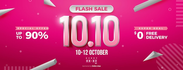 Números com borda de prata em fundo de venda flash em 1010 liquidações