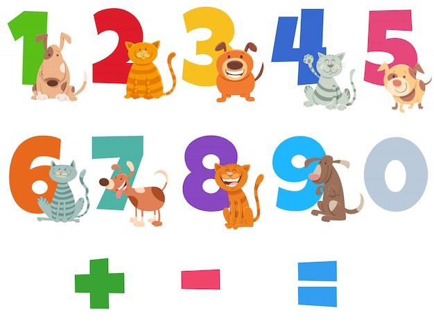 Números conjunto com cães e gatos felizes