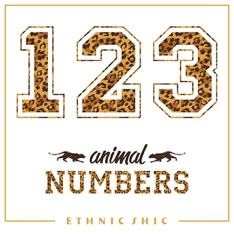 Números de animais vetoriais para t-shirts, cartazes, cartões e outros usos.