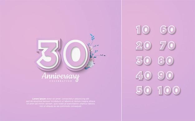 Números de aniversário 10-100