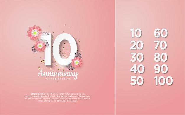 Números de aniversário branco macio com flores sobre ele.