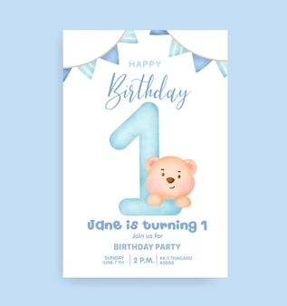 Números de aniversário com fofo urso de pelúcia para cartão de convite de festa de aniversário.