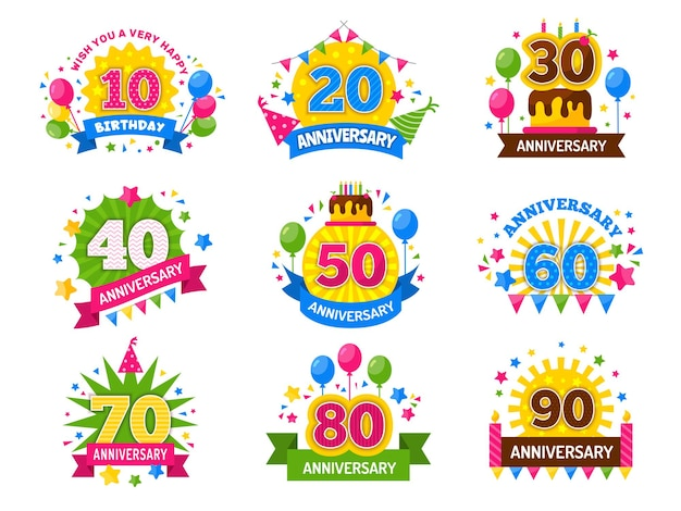 Números de aniversário. folheto comemorativo do número comemorativo do ano da festa para aplausos da felicidade