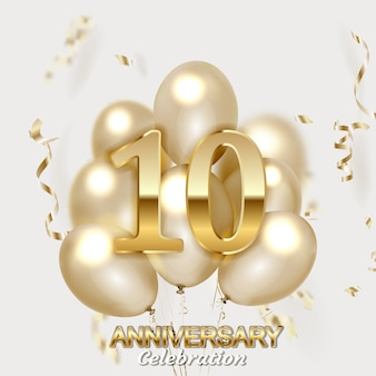 Números de aniversário ouro com confete dourado.