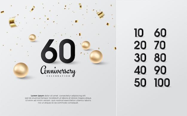 Números de aniversário pretos com grânulos de ouro.
