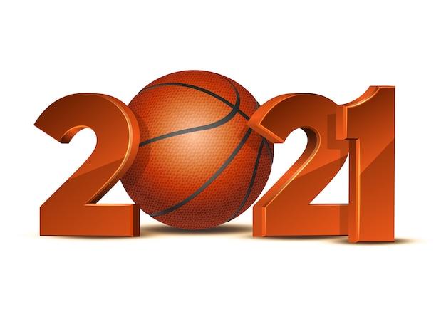 Números de ano novo 2021 com bola de basquete isolada no fundo branco.