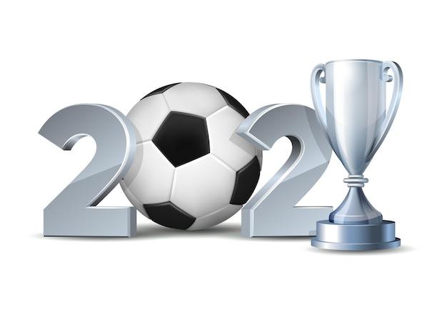 Números de ano novo com bola de futebol isolada no branco
