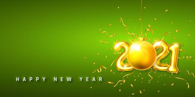 Números de balão de hélio dourado e bola de natal com confete Vetor Premium