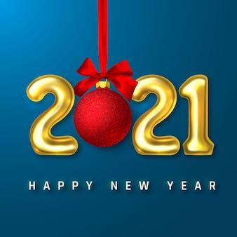 Números de balão de hélio dourado e bola de natal com laço vermelho