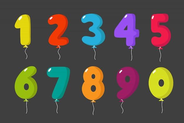Números de balão dos desenhos animados para aniversário divertido crianças festa cartão de convite de celebração conjunto isolado