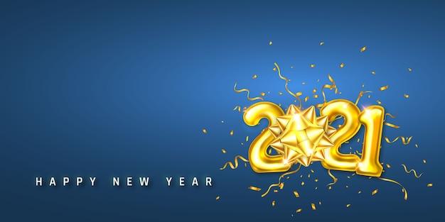 Números de balões de hélio dourado e confetes