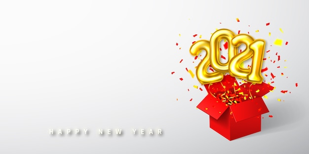 Números de balões de hélio dourado voando da caixa vermelha e confetes