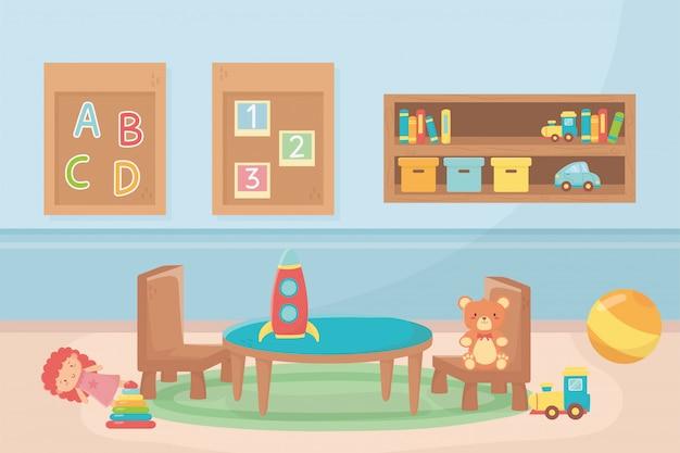 Números de bloco alfabeto cadeiras de mesa bola sala brinquedos