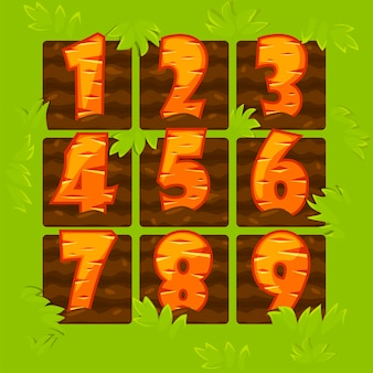Números de cenoura em canteiros de jardim, figuras de desenho animado para um jogo.