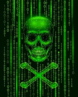 Números de código binário do crânio de roger alegre, computador de pirataria de hackers on-line