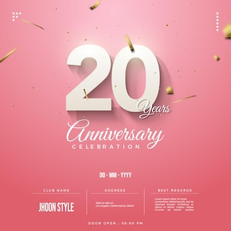 Números de convite do 20º aniversário decorados com fitas de ouro