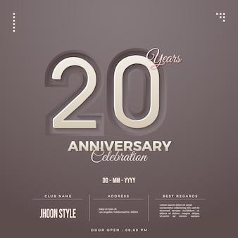 Números de convite do 20º aniversário em fundo creme