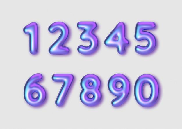 Números de cores de fontes realistas