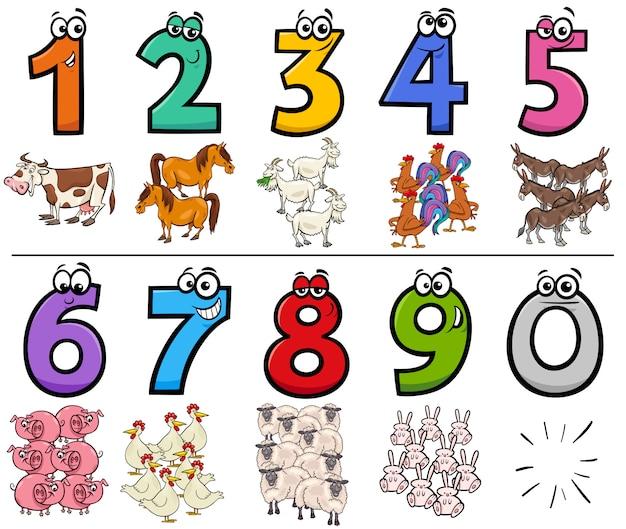 Números de desenhos animados educacionais conjunto com caracteres de animais de fazenda