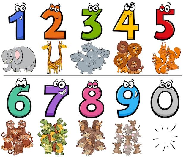 Números de desenhos animados educacionais conjunto com caracteres de animais selvagens