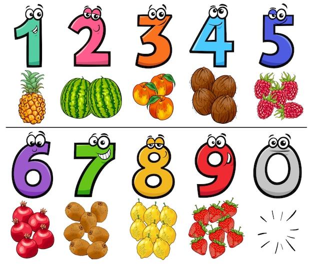 Números de desenhos animados educacionais conjunto com frutas