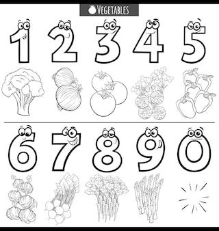 Números de desenhos animados educacionais em preto e branco com vegetais