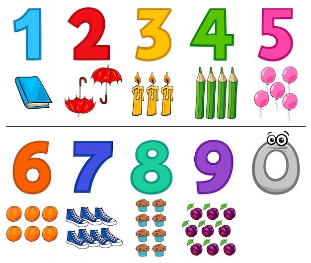Números de desenhos animados educativos conjunto com objetos