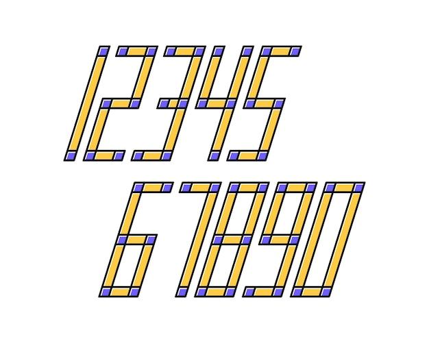 Números de design de efeito de estilo de linha de fonte geométrica