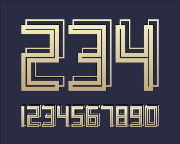 Números de design de efeito geométrico fonte 3d