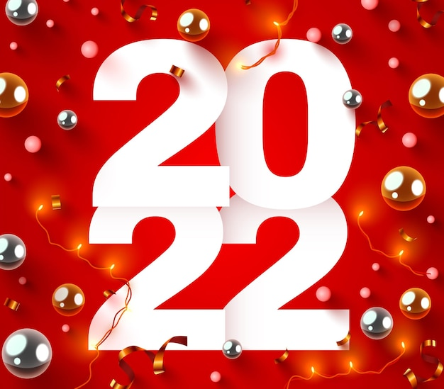 Números de feriado de feliz ano novo com confete e festão festiva cartaz ou design de banner