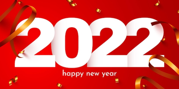 Números de feriado de feliz ano novo com pôster festivo de confete ou design de banner