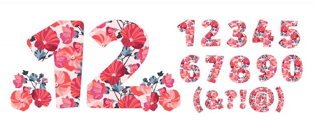 Números de flores de 0 a 9. caráter botânico, figura. flores de cor laranja, marrom, rosa e coral na forma de um número em negrito. malva flores com galhos.