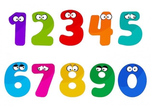 Números de fonte crianças coloridas com desenhos animados olhos emoções diferentes.