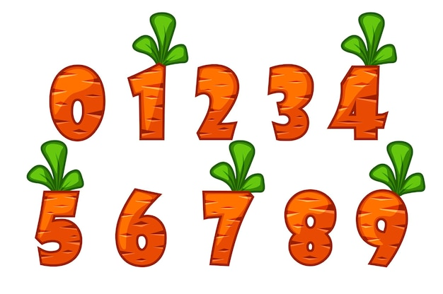 Números de fonte da cenoura de desenho animado